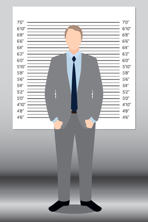interrogating: Businessman in police lineup backdrop illustration vector.