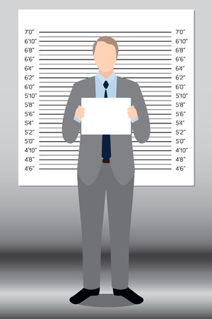 interrogating: Businessman in police lineup backdrop illustration vector.