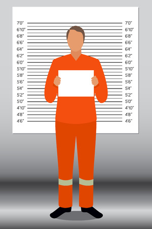prisoner: Prisoner in police lineup backdrop illustration vector