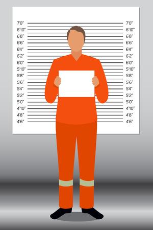 Prisoner in police lineup backdrop illustration vector