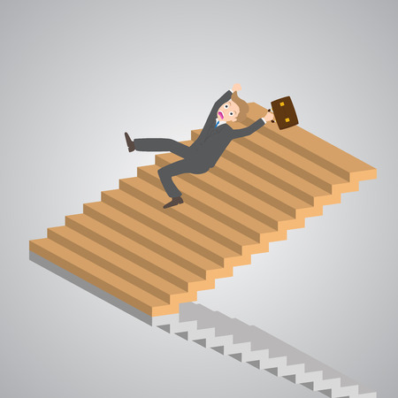 trip hazard: businessman slipping down on the stairs vector illustration.