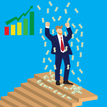 falling money: Business man cheer on top of stairs with falling money vector illustration.