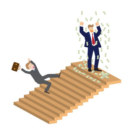 Business man cheer on top of stairs and someone falling down vector illustration. Vector