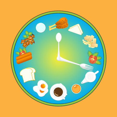 meal time: Clock with food and kitchen utensils meal time vector illustration.