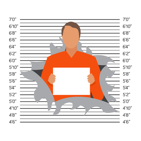 perilous: Prisoner in police lineup backdrop illustration vector.