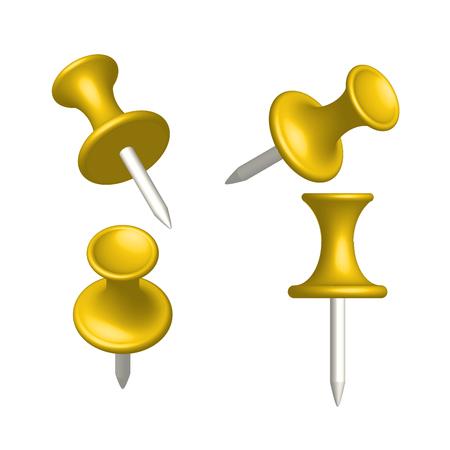 thumbtack: Set of yellow pin different view thumbtack vector illustration.