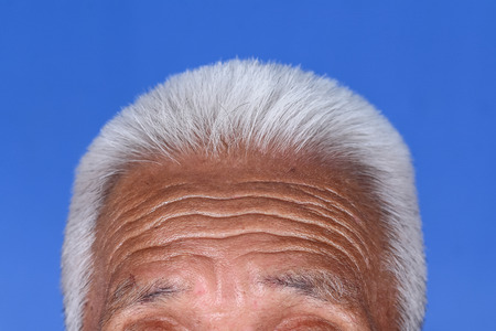 Close up of grey hair on top of elderly man head wrinkle tan skin.