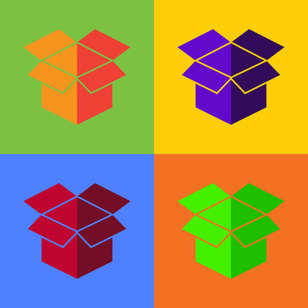 cardboard box icon vector set of cardboard box icon on colorful background illustration. Vector