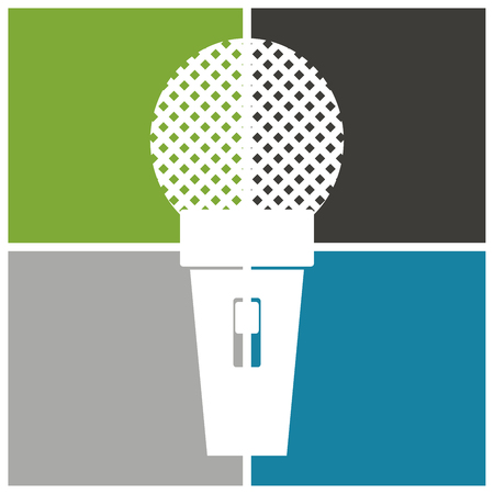oldie: Microphone icon, classic microphone symbol on color background. Stock Photo