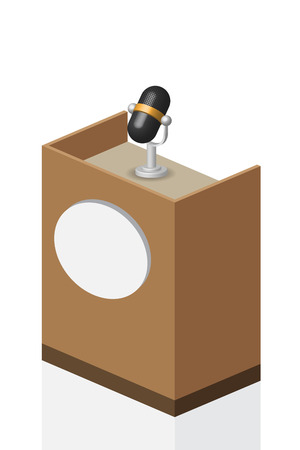 3D microphone on brown Podium on stage, illustration, vector.