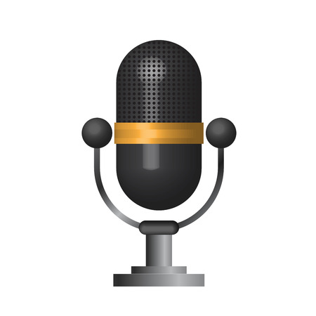 entertaining presentation: 3D Classic microphone icon symbol on white background