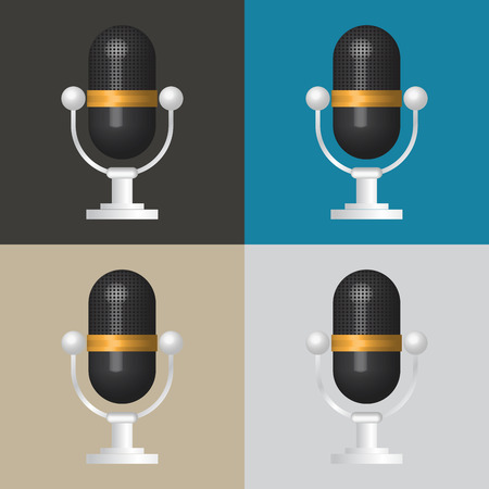 entertaining presentation: 3D Microphone icon, classic microphone symbol on color background.