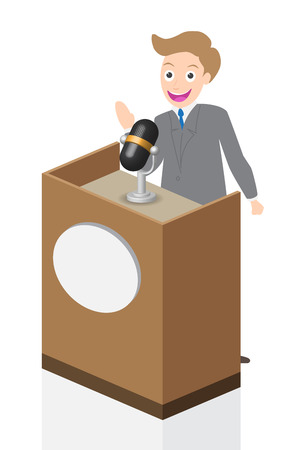 spokesman: Businessman speaking on stage with microphone and podium, illustration, vector. Illustration
