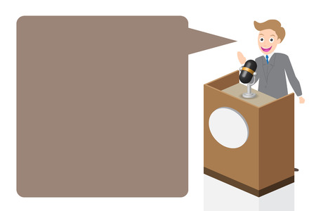 narrator: Businessman speaking on stage with microphone and podium, illustration, vector. Illustration