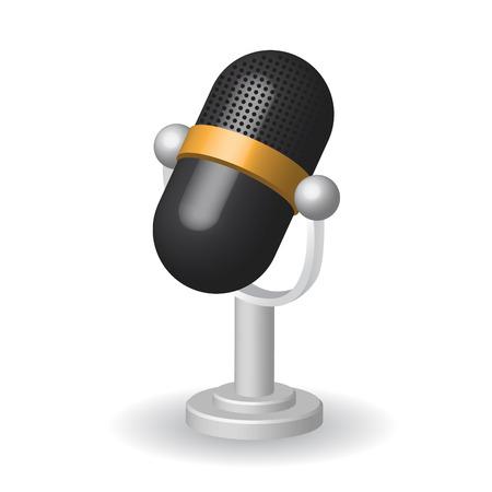 entertaining presentation: Classic microphone icon symbol on white background.