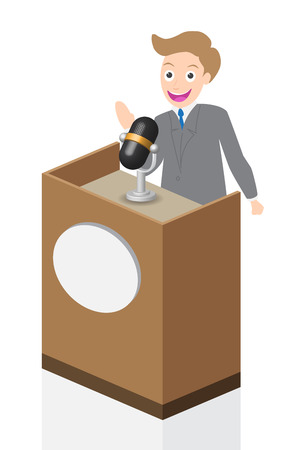 senator: Businessman speaking on stage with microphone and podium, illustration, vector. Illustration