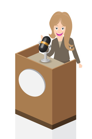 senator: Business woman speaking on stage with microphone and podium, illustration, vector.