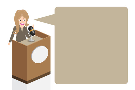 narrator: Business woman speaking on stage with microphone and podium, illustration, vector.
