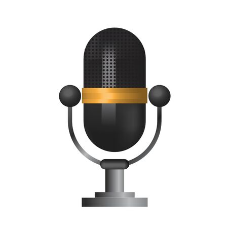 Classic microphone icon symbol on white background, mesh tool