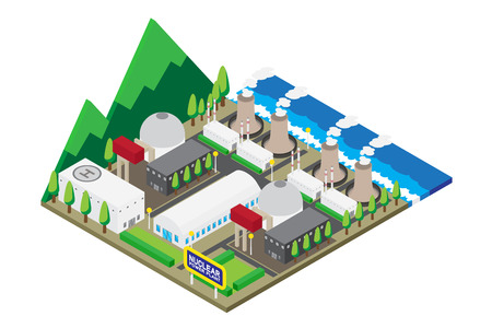 Isometric of nuclear power plants, vector, illustration.