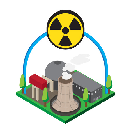 thermal power plant: Isometric of nuclear power plants, vector, illustration.