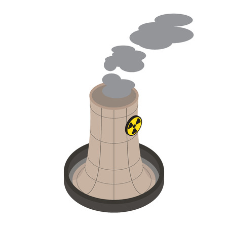 vector nuclear: Isometric of nuclear power plants, vector, illustration.