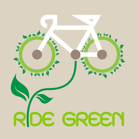 eco energy: Bicycle ride for Green Eco Vector, illustration. Illustration