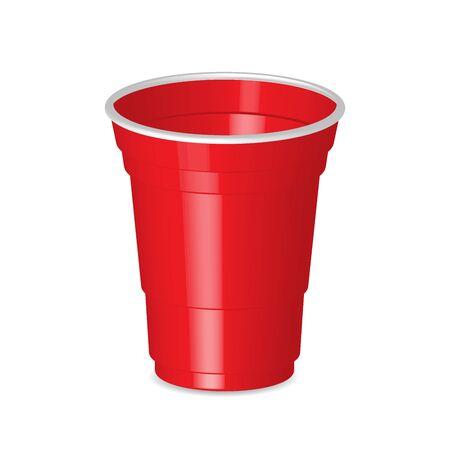 Partij rode plastic beker geïsoleerd op een witte achtergrond. Stock Illustratie