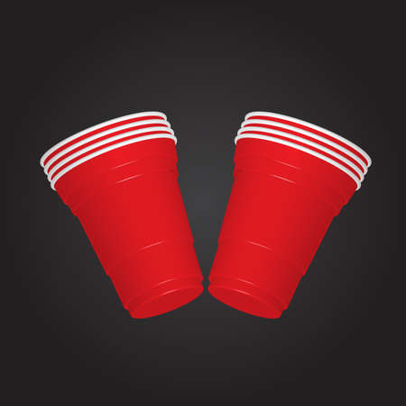 Party red plastic cup on dark background. Illustration