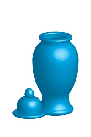 collectible: Illustration of empty flower vase with cap, vector isolated on white background Illustration