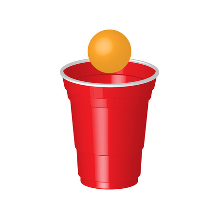 tonic: Red party cup with ping pong ball, isolated on white background.