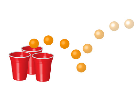 shots alcohol: Red party cup with ping ball, isolated on white background. Illustration