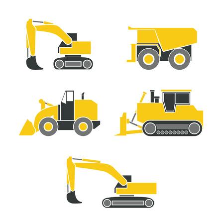 Tractor, graafmachine, bulldozer, crawler, wielen en rupsband met blad en backhoe. illustratie of pictogram. Geïsoleerd op een witte achtergrond. EPS 10 vector. Stock Illustratie