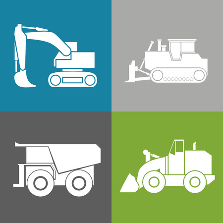 wheeled: Tractor, excavator, bulldozer, crawler, Wheeled and continuous track with blade and backhoe. illustration or icon. Isolated on color background. EPS 10 vector.