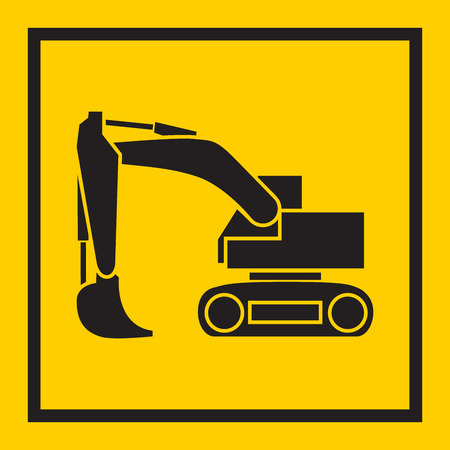 crawler tractor: Tractor, excavator, bulldozer, crawler, Wheeled and continuous track with blade and backhoe. illustration or icon. on yellow background. EPS 10 vector, sign Illustration