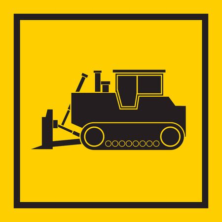 tractor sign: Tractor, excavator, bulldozer, crawler, Wheeled and continuous track with blade and backhoe. illustration or icon. on yellow background. EPS 10 vector, sign Illustration
