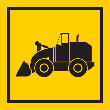 crawler: Tractor, excavator, bulldozer, crawler, Wheeled and continuous track with blade and backhoe. illustration or icon. on yellow background. EPS 10 vector, sign Illustration