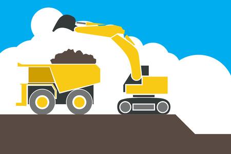 yellow tractors: Backhoe loader excavator machine loading dumper truck, sand and soil, vector