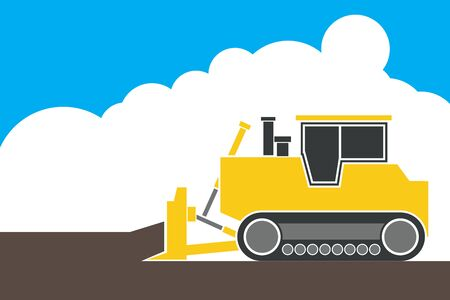 earth moving: industrial backhoe, bulldozer moving earth and sand in quarry, illustration, vector