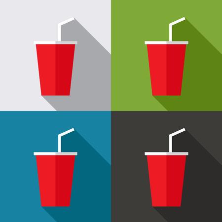 Platte ontwerp van de rode plastic beker met lange schaduw op een kleurrijke achtergrond, illustratie, vector