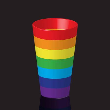 color reflection: Empty colorful rainbow color plastic cup of water with reflection, on dark background Illustration