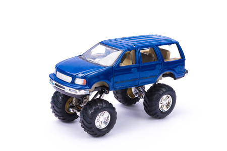 4wd: Blue Suv or 4wd truck, pick up, plastic car toy, on white background