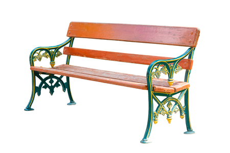 banc de parc: Green and brown wooden park bench, isolated on white background with clipping path Banque d'images
