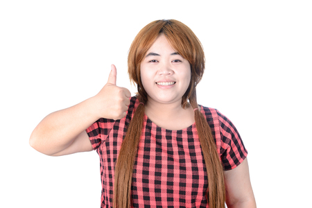 plump: Asian plump woman making, showing thumbs up with a Smiling, Isolated on white background Stock Photo