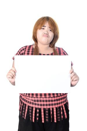 plump: Asian plump woman standing and showing empty horizontal blank paper in hands, isolated on white background.