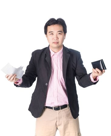 outgoings: Bill and wallet in Asian businessman hand, isolated on white background