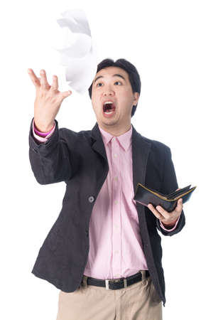 outgoings: Asian businessman shock bill paper, surprise, yelling and throwing bill paper and wallet in the air,non white background