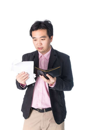 outgoings: Bill and wallet in Asian businessman hand, on white background