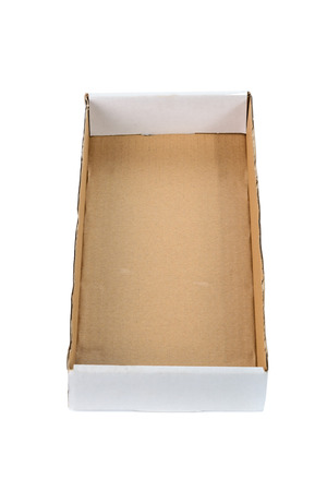 ship order: Open cardboard tray or brown paper package tray isolated with soft shadow on White background