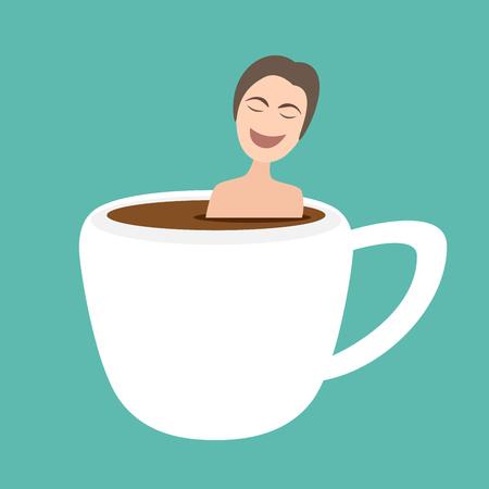 illustration of man taking bath in onsen hot coffee cup Illustration